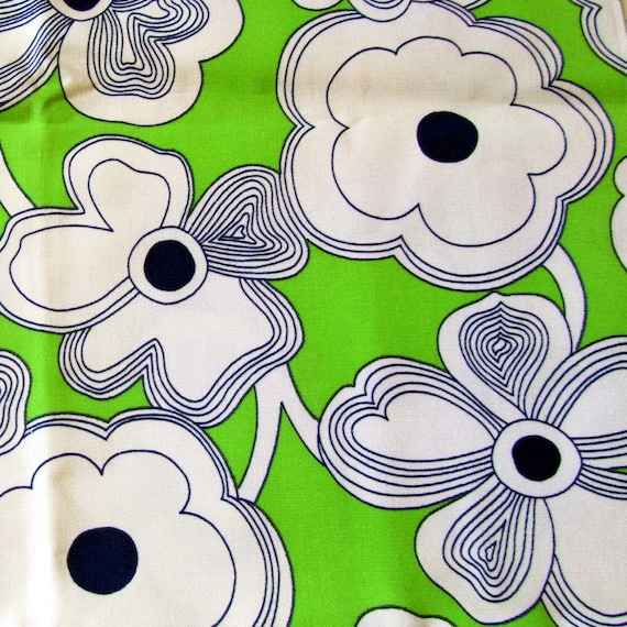 Vintage Fabric -  Green and White Cotton Flowers