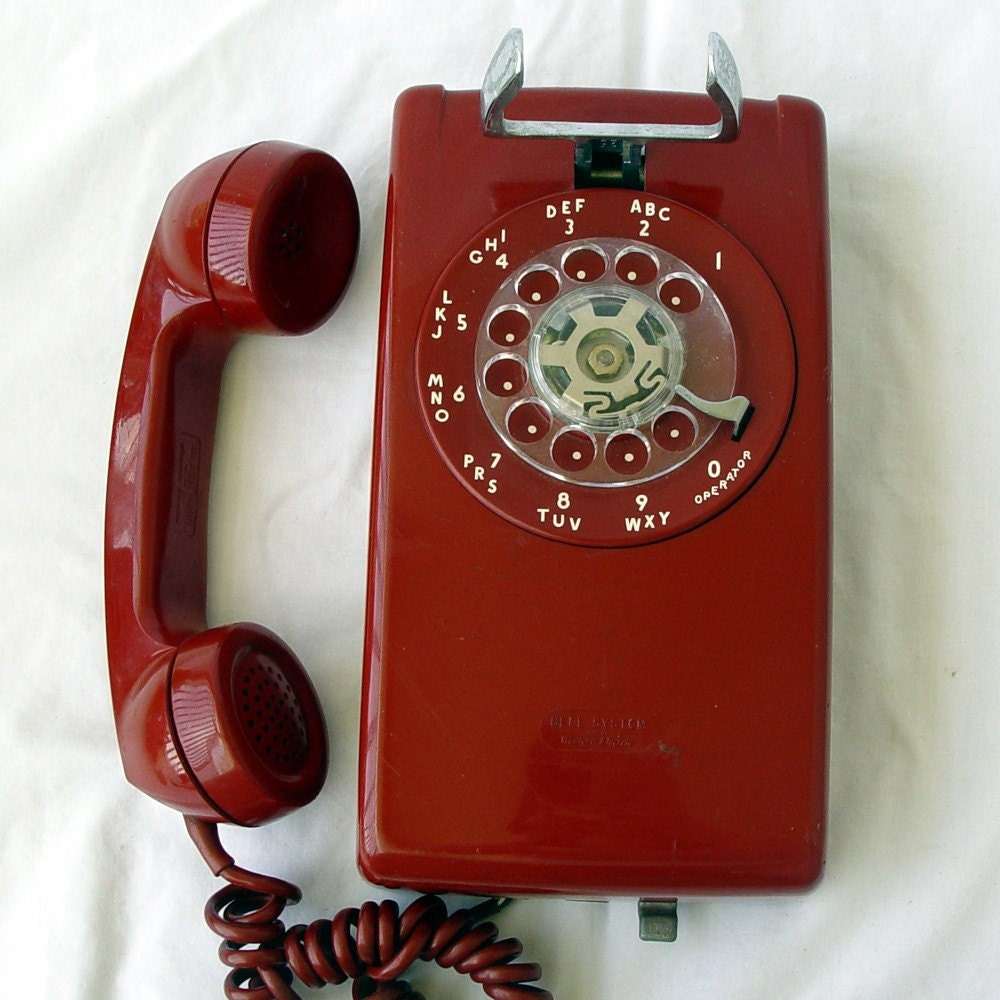 Red Rotary Wall Phone