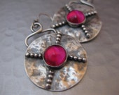 X Marks the Spot Earrings.  Sterling Silver Beaded Disk w/Ruby