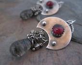 Garnet Moon Earrings sterling silver tourmalinated quartz briolettes