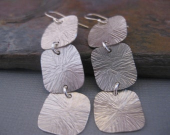 Triple Square Sterling Silver Earrings