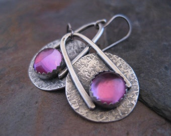 Sterling Silver Disk with Pink Sapphire