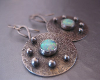 Round Sterling Silver disk Earrings with Opals