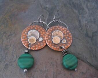 Copper Full Moon Earrings