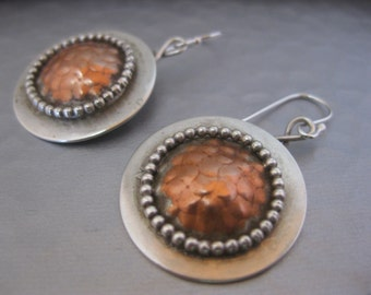 Sterling Silver Disk Earrings with Copper