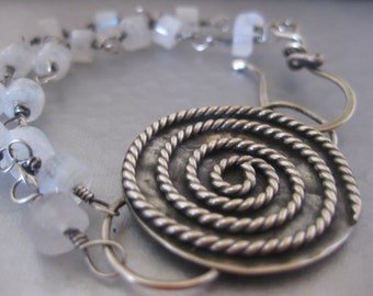 Reduced Sterling Silver Spiral Rainbow Moonstone Bracelet