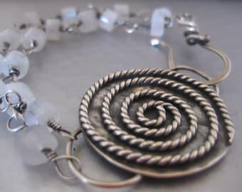 Sterling Silver Spiral Rainbow Moonstone Bracelet
