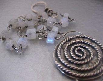 Reduced Sterling Silver Spiral Rainbow Moonstone Bracelet