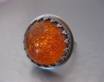 Tangerine Foiled Glass Cabochon Ring