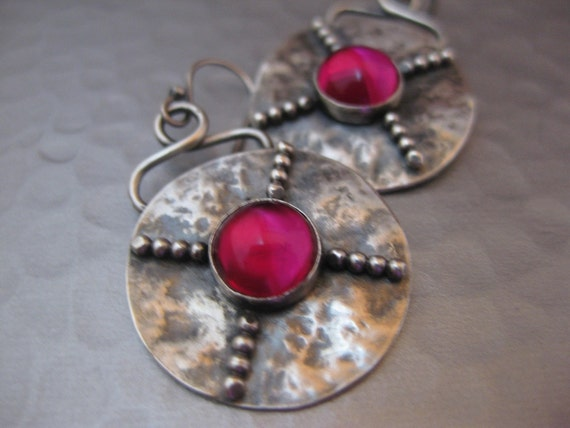 X Marks the Spot Earrings.  Sterling Silver Beaded Disk w/Ruby