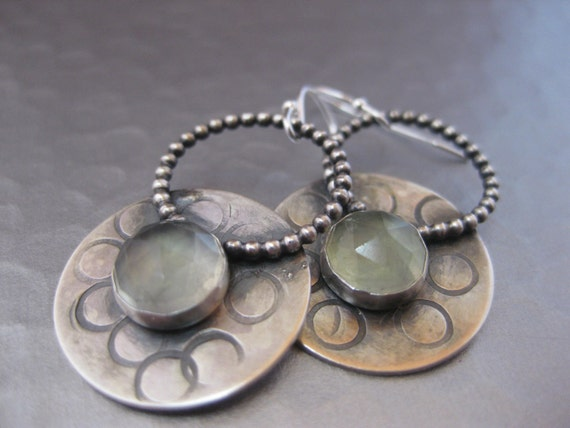 Artisan Sterling Silver Disk with Prehnite