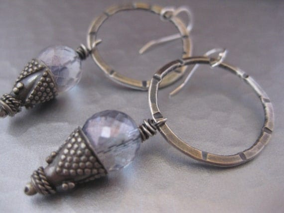 Sterling Silver Hoop Earrings with Mystic Blue Quartz