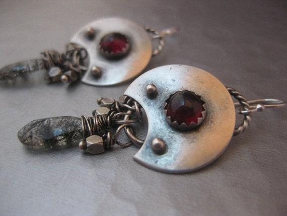 Garnet Moon Earrings