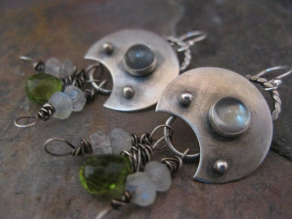 Peridot Moon Earrings