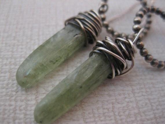 Green Kyanite and Sterling Silver earrings