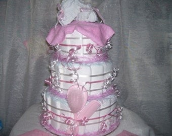 PRECIOUS PINK Diaper Cake Baby Shower Girl Party Favors Table Decorations  Hello Kitty Princess Baby Mother's Day  Gift