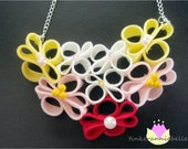 Hot Pink, Pastel Pink, Yellow, and White Couture Zipper Flower Bib Necklace with Swarovski Crystals