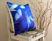 Royal Summer Hydrangea / Handmade Eco-Friendly Printed / Floral Pattern / Linen Throw Pillow