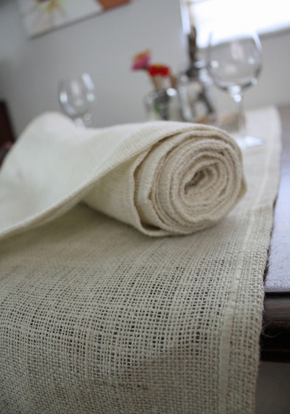 extra long 10 ft burlap table runner in oyster by