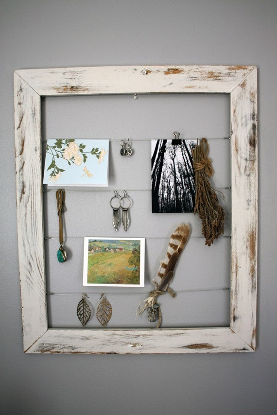 ready to ship Large Handmade and hand distressed white chippy frame 20 x 24