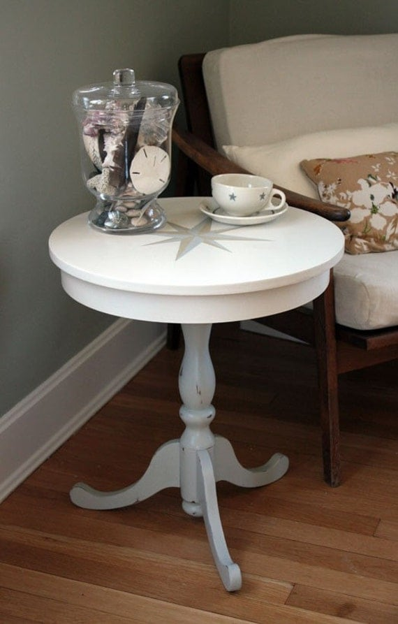 Nautical Cafe Side Table with Handpainted Compass Rose and Distressed Base