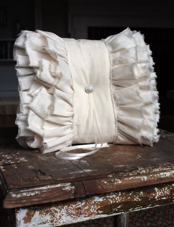 E r o s Ruffles Ring Bearer pillow in Unbleached Natural Ivory Cotton