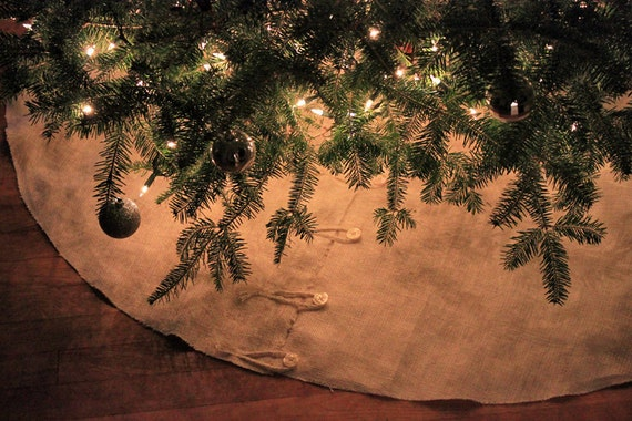 Natural ivory burlap rustic christmas tree skirt