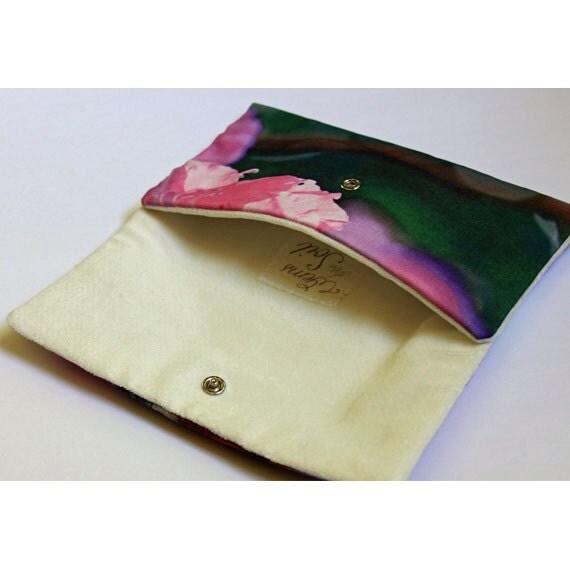 Full Bloom Clutch. Colorful Botanical Pocketbook. Custom Designed Fabric. Linen Cotton. Eco-Friendly Printing. Vibrant Print