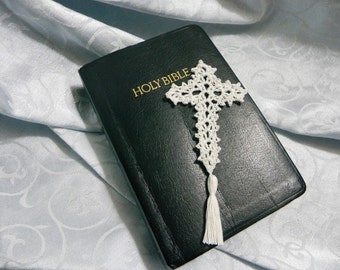 Set of 10 all white cross bookmarks