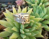 Tiny Brass and Silver Initial Rings