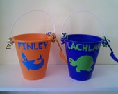 Personalized/Custom 9 Inch Beach Pail-Perfect Party Favors For Summer Birthdays, Adorable Gift Or To Use As A Gift Bag, Beach, Pool And More-Choose Your Design From Below-Birthday Childs Pail Free With Purchase Of 10 Or More-Discounts For Large Quantities