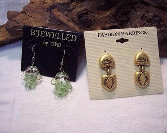 Fish Gold Green Dangles Vintage Pierced Earrings 1970s Clip on Earings 2 Pair