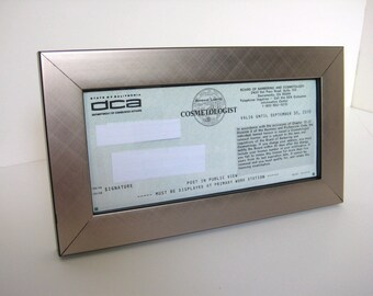 stainless steel silver metallic finish w black edge business cosmetology license frame