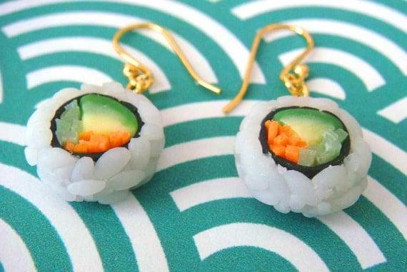 Sushi Earrings, Veggie Sushi