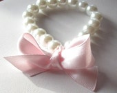 Flower Girls Pearl Bracelet with Pink Bow