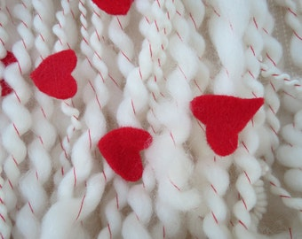 Heart On my Sleeve Handspun Art Yarn hand spun knitting crochet supplies wool merino craft waldorf hair