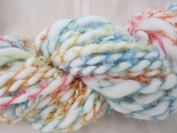 Cloudy with a chance of Rainbows Handspun Art Yarn 46 yards
