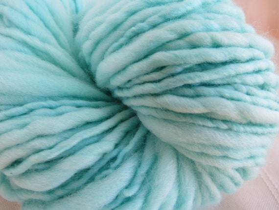 Mint Green Handspun art yarn soft merino 126 yards