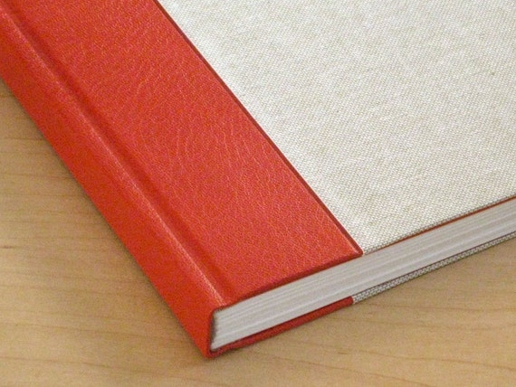 Journal Red Leather and Linen Sketchbook