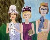 Sylvia, Linda and Janice, Summer of 1967.  Original oil painting.