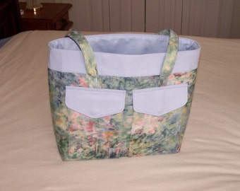 Floral and Blue Pastel Tote