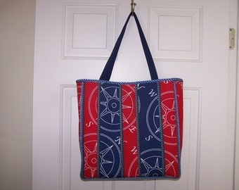 Red & Blue Nautical Tote