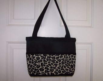 Black and Leopard Print Tote