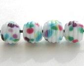 Handmade Lampwork Glass - Ocean Breeze Mini Ribbed Beads - CLG