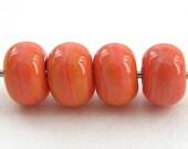 Coral, Orange (4) Handmade Lampwork Spacer Beads - CLG