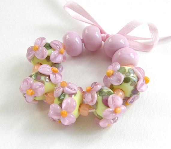 Handmade Lampwork Floral bead set -  Pink Lemonaid - CLG