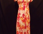 Vintage Maxi Dress Big Sleeve Ruffles With Open Back Bright Orange and Yellow Print