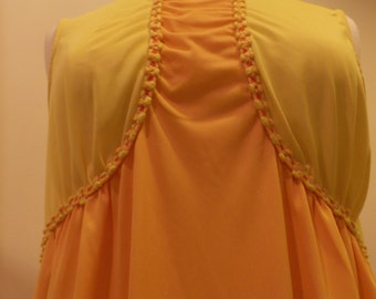 Vintage Nightgown BabyDoll Orange and yellow lingerie