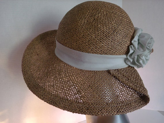 Vintage Summer Sun Big Hat with White Band and Large Fabric Flower DISCOUNTED