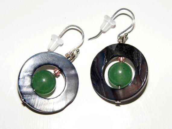 Natural Shell & Green Aventurine Platinum Earrings
